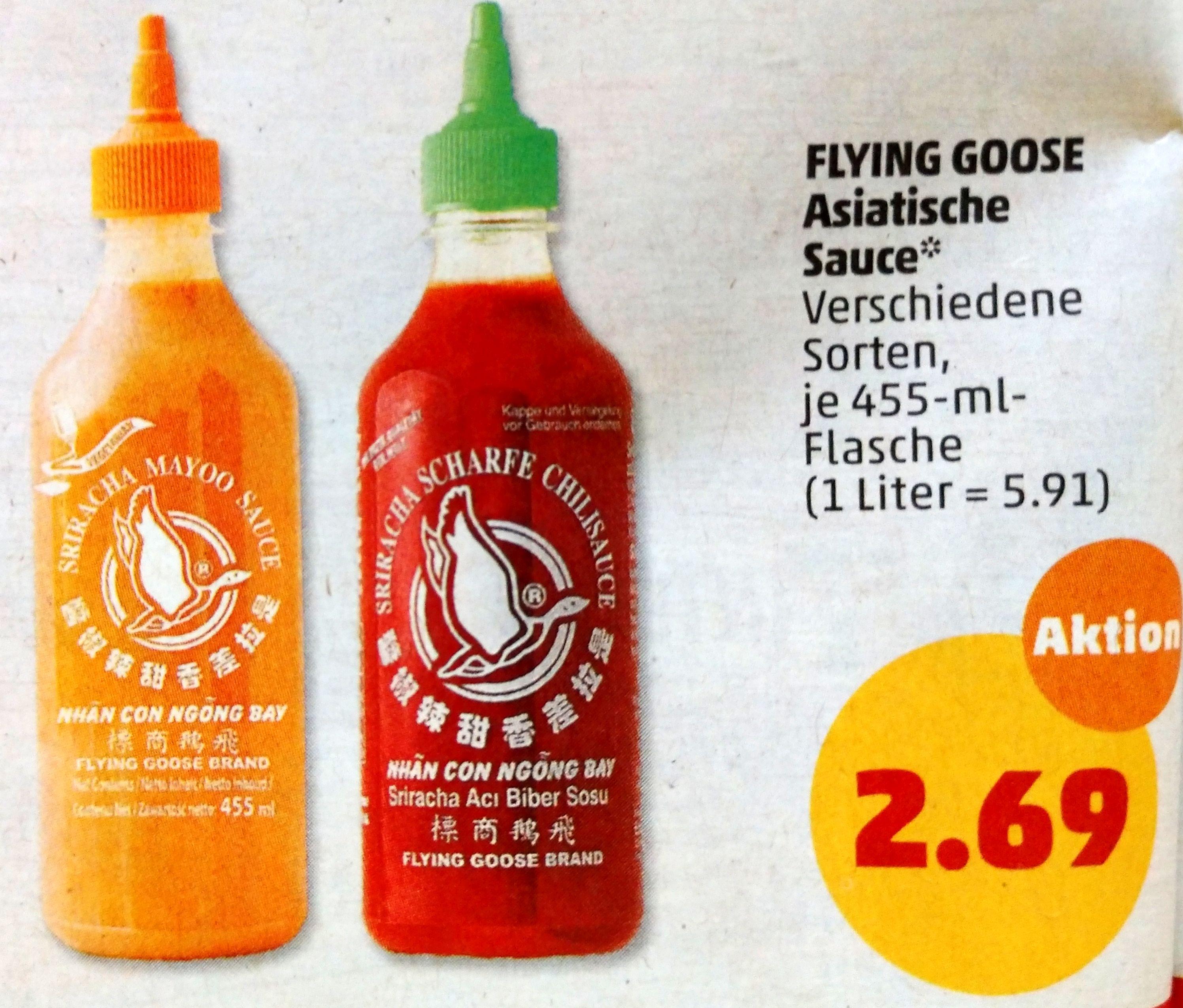 Flying Goose Asiatische Sauce (Sriracha in verschiedenen Sorten, je 455ml) [Penny ab dem 27.05.]