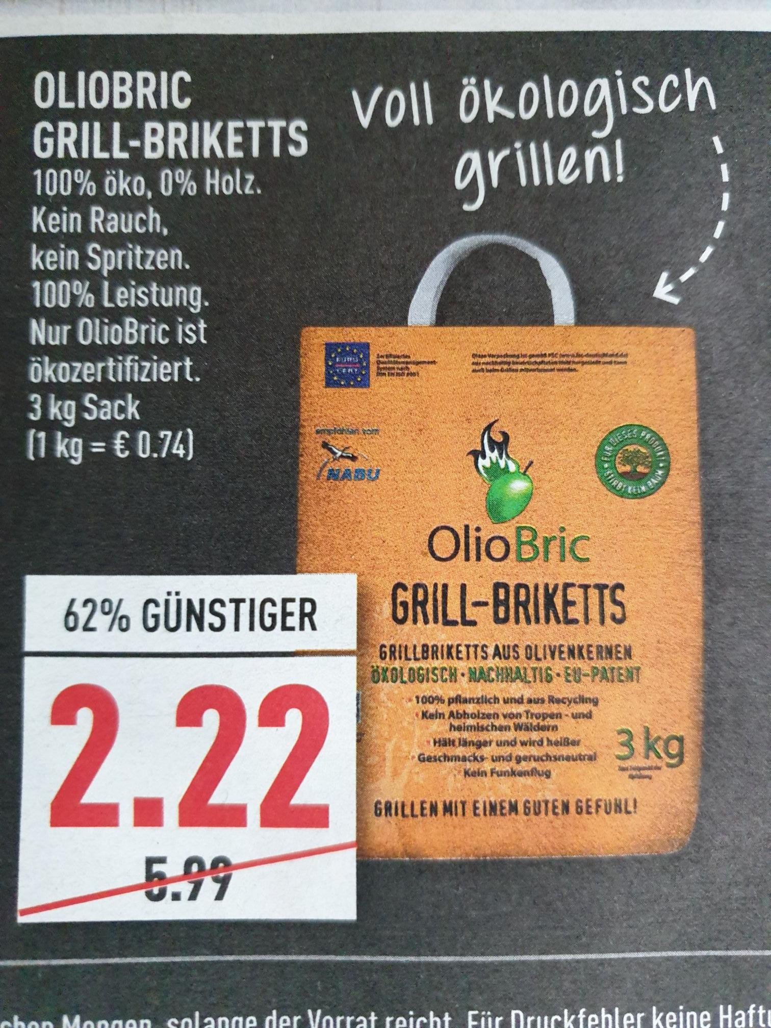(Marktkauf) Olio Bric Grill- Briketts 100% öko + rauchfrei für 2,22€  evtl. regional
