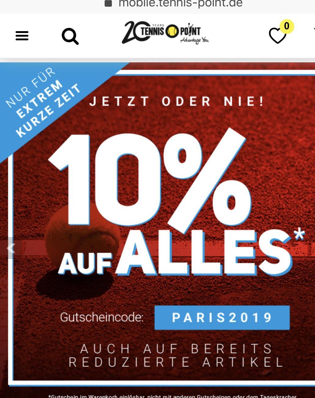 Tennis-Point 10% auf alles - auch reduzierte Artikel