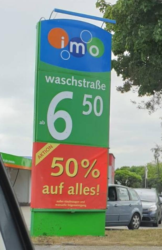 50% auf alles bei IMO Waschstraße [lokal ? Rheine]