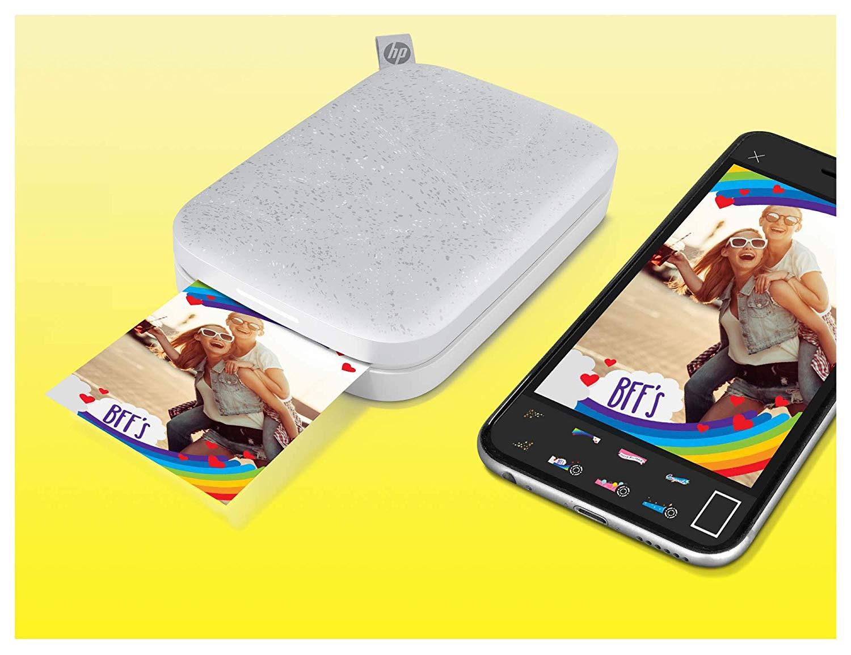 HP Sprocket 200 Luna Perl Limited Gift Box Fotodrucker inkl. LED Lichterkette mit Clips, Sprocket Case und 10× ZINK Photo Papier (NBB)
