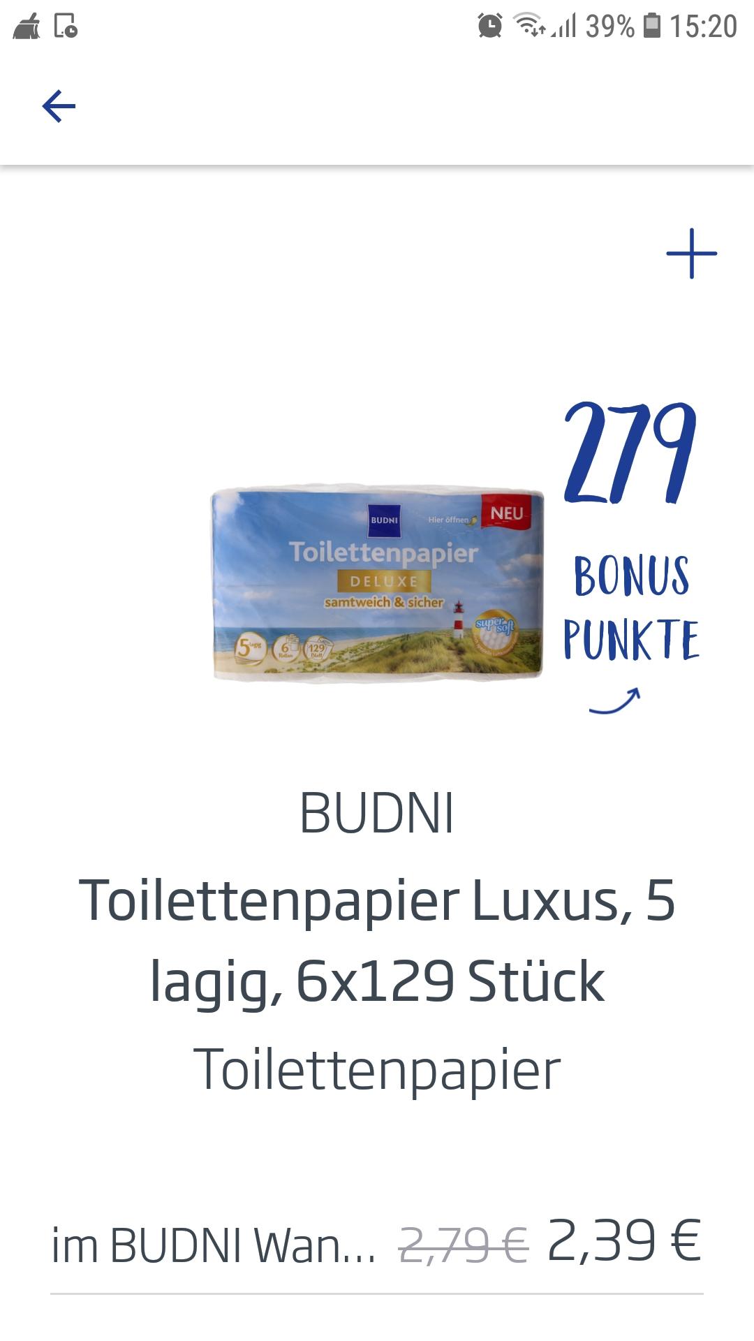 Budni Toilettenpapier Luxus, 5 lagig - 0,40 € in der Budni App
