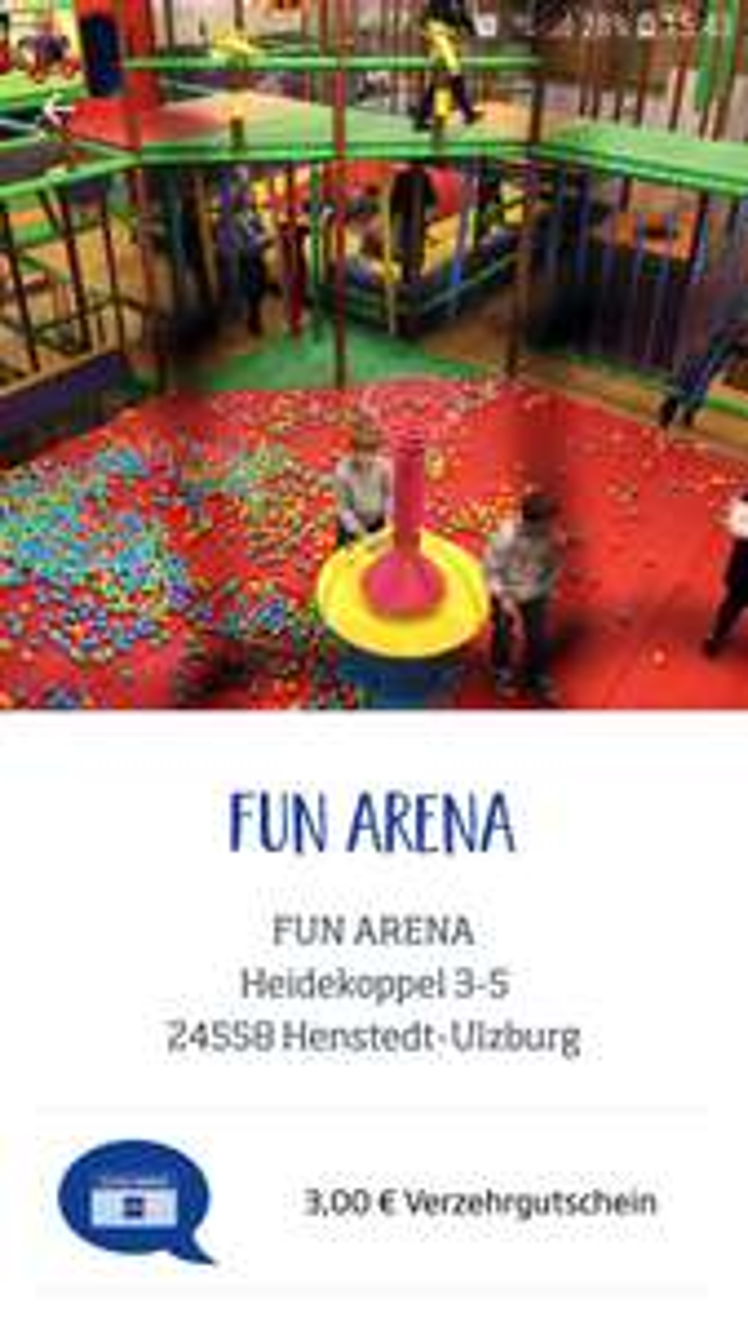 Fun Arena 3 Euro Verzehrgutschein in der Budni App/Budni Karte