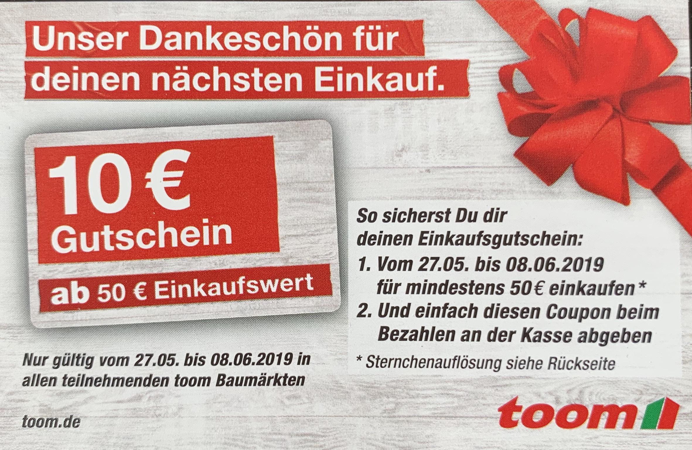 Toom 10€ Gutschein ab 50€ Einkaufswert