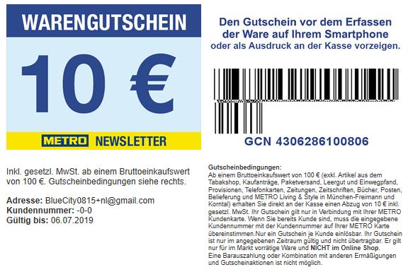 10,00 € METRO Newsletter Gutschein ab 100 € Mindesteinkaufswert gültig bis 06.07.2019