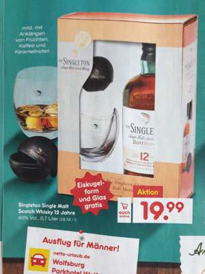 Singleton Single Malt Scotch Whisky 12 Jahre mit Tumbler + Eisform 19,99€  Netto - auch online