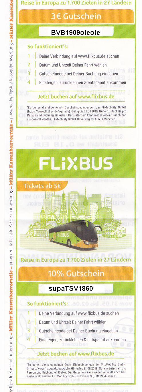 Flixbus-Gutscheincodes 3 Euro oder 10% auf Kassenzettel Drogerie Müller