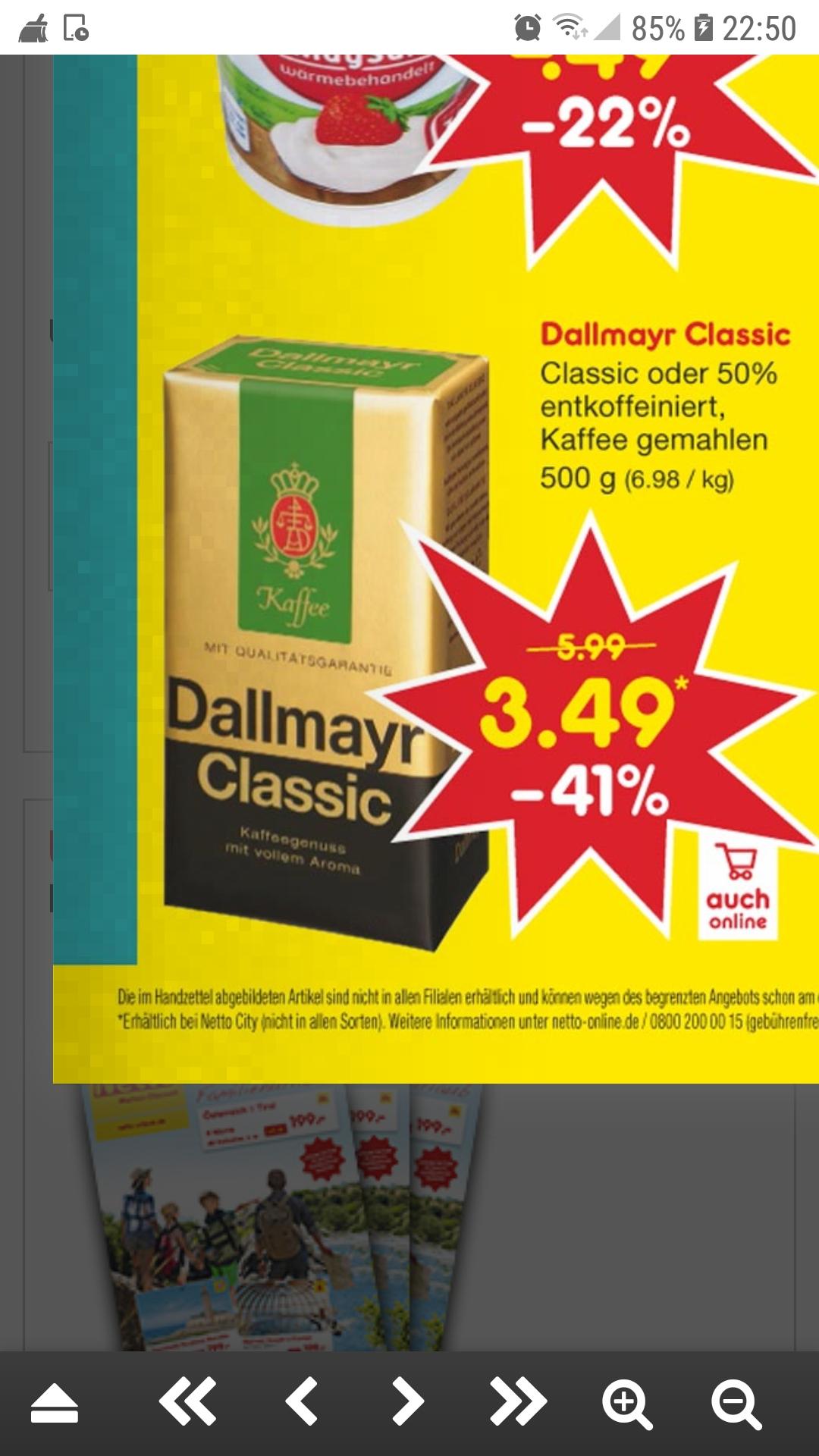 Dallmayer Classic oder 50 % entkoffeiniert 41% reduziert bei Netto