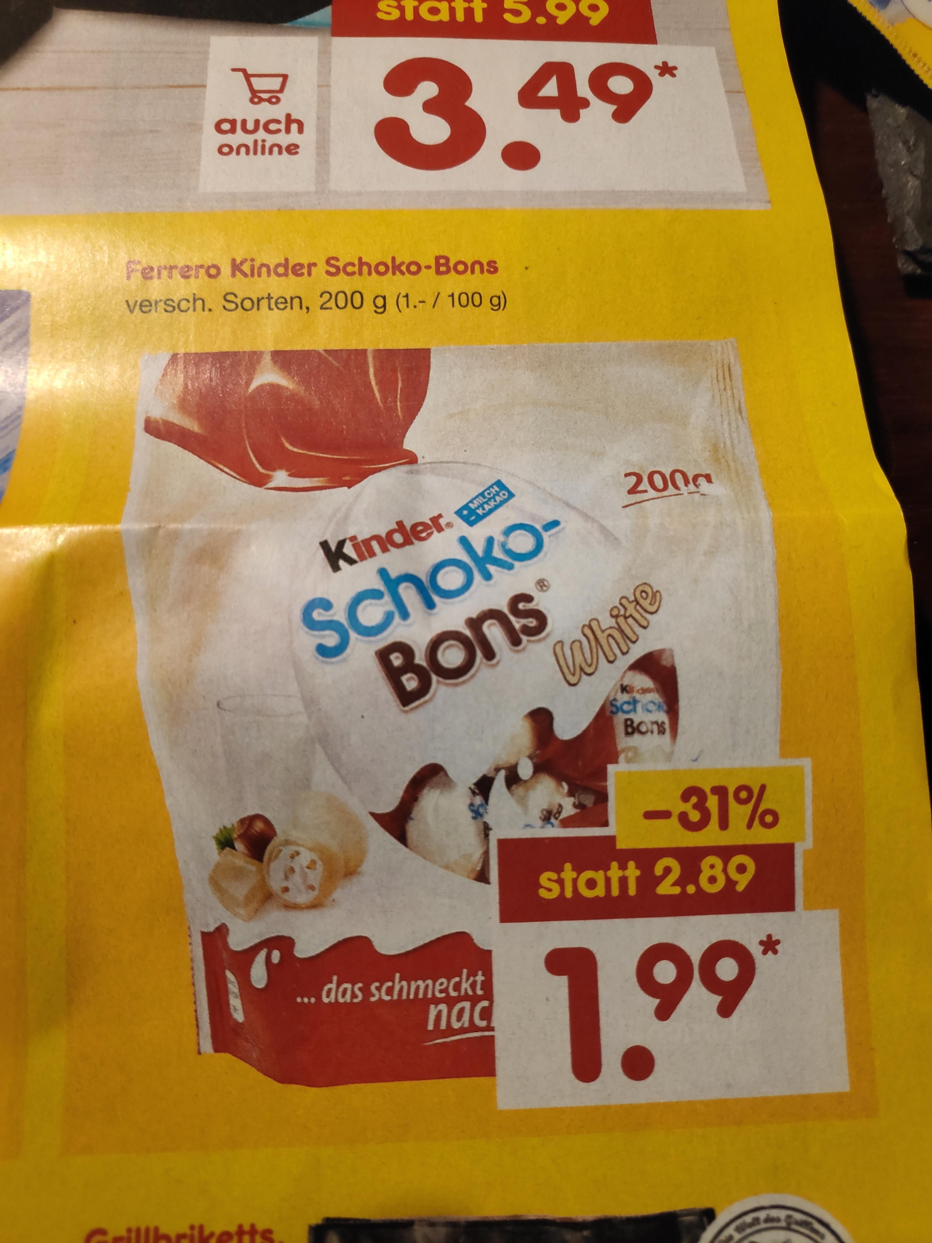 [Netto]200g Kinder Schoko-Bons white(und normal) ab 27.05. für 1,99€