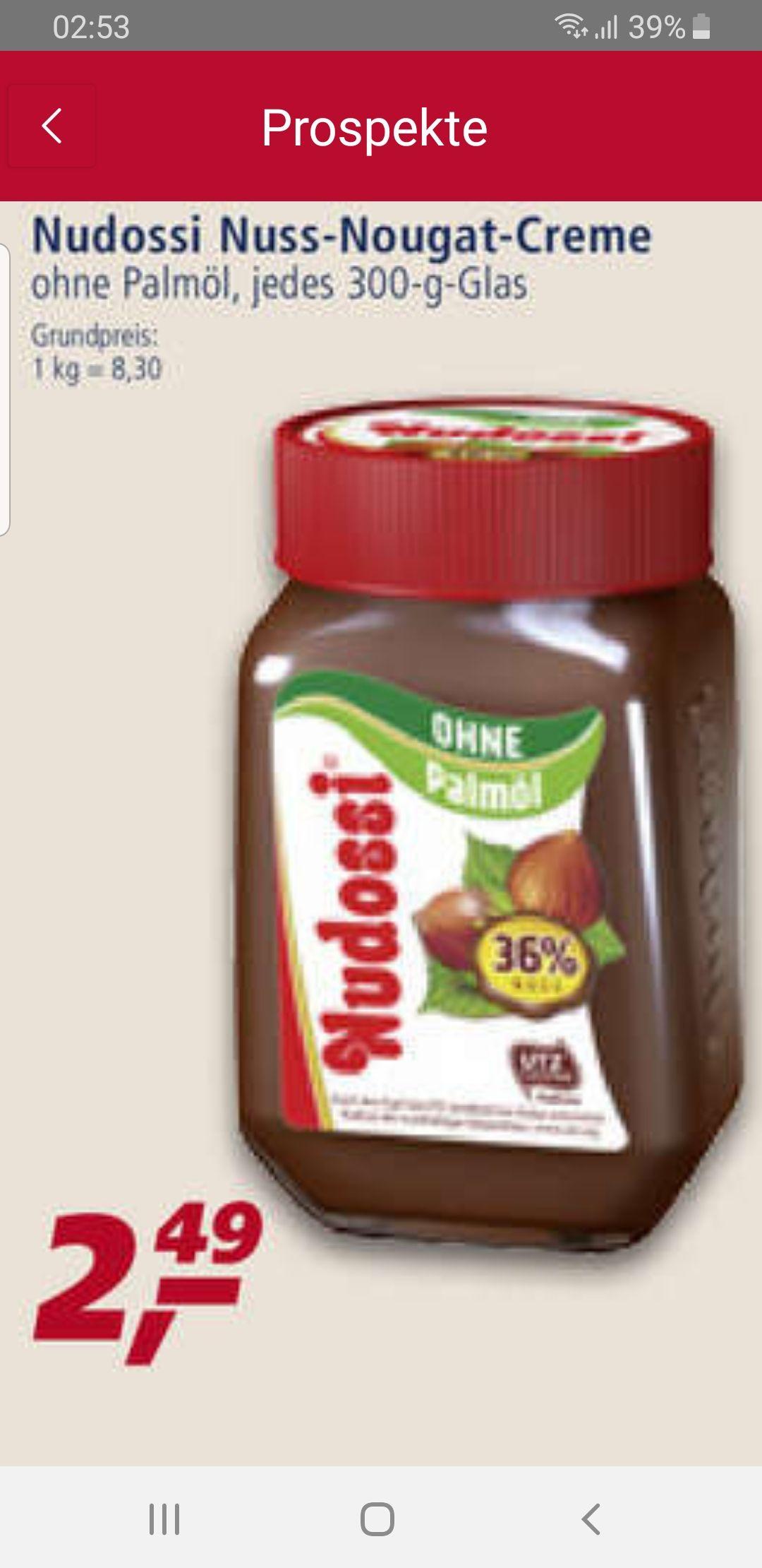 Nudossi Nuss Nougat Creme 300gr ohne Palmöl ab Montag bei real