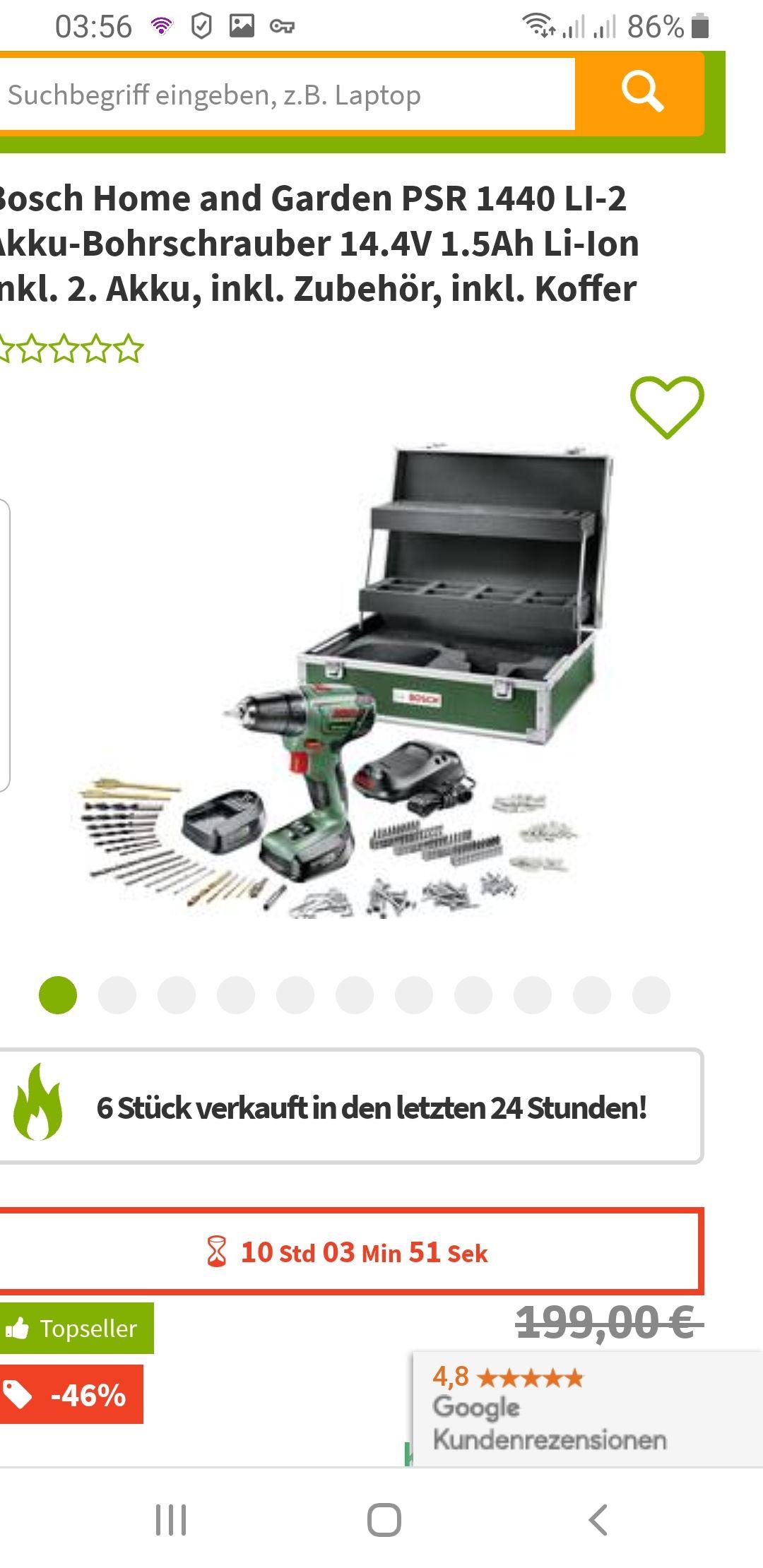 Bosch Akku Schrauber PSR 1440 LI-2 Akku-Bohrschrauber 14.4V 1.5Ah Li-Ion inkl. 2. Akku, inkl. Zubehör, inkl. Koffer  für  nur 107.99€