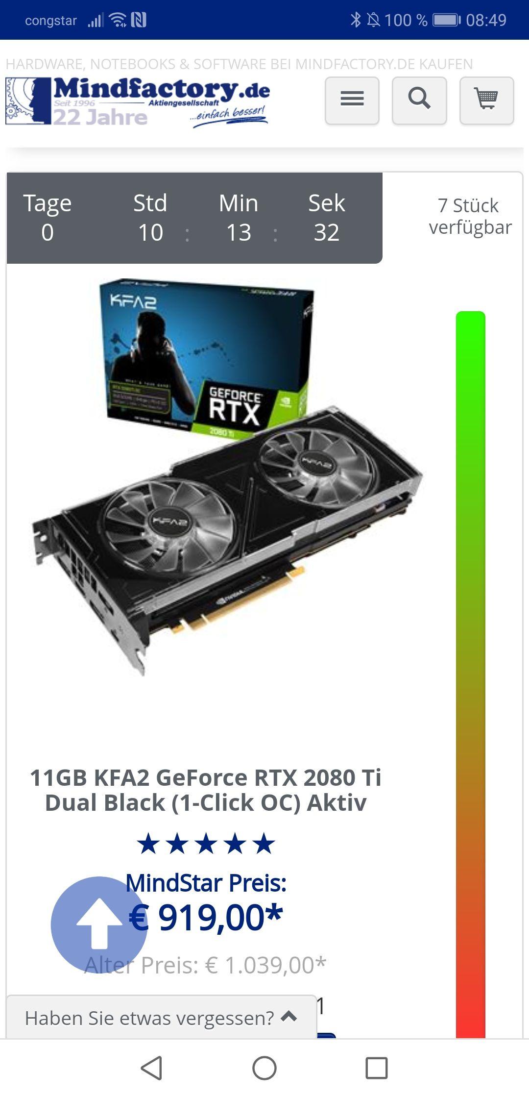 [Mindstar]  11GB KFA2 GeForce RTX 2080 Ti Dual Black (1-Click OC) Aktiv PCIe 3.0 x16 (Retail)