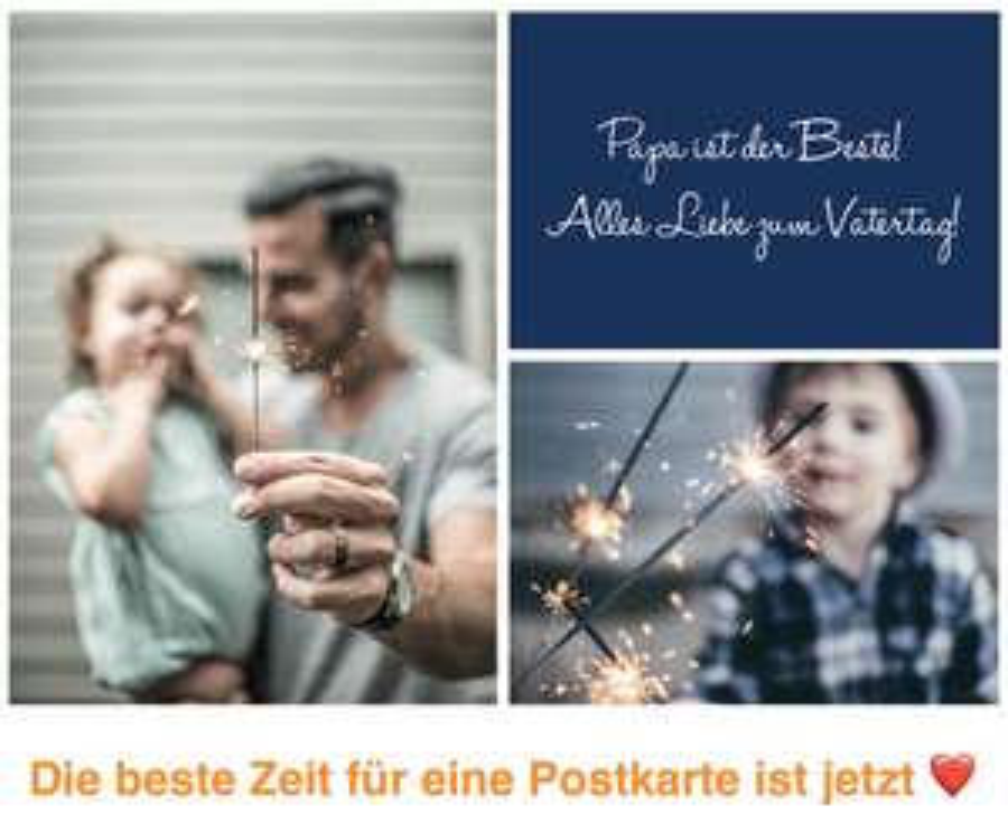 Gratis Vatertagskarte mit eigenen Fotos versenden [Postando App Android & iOS]