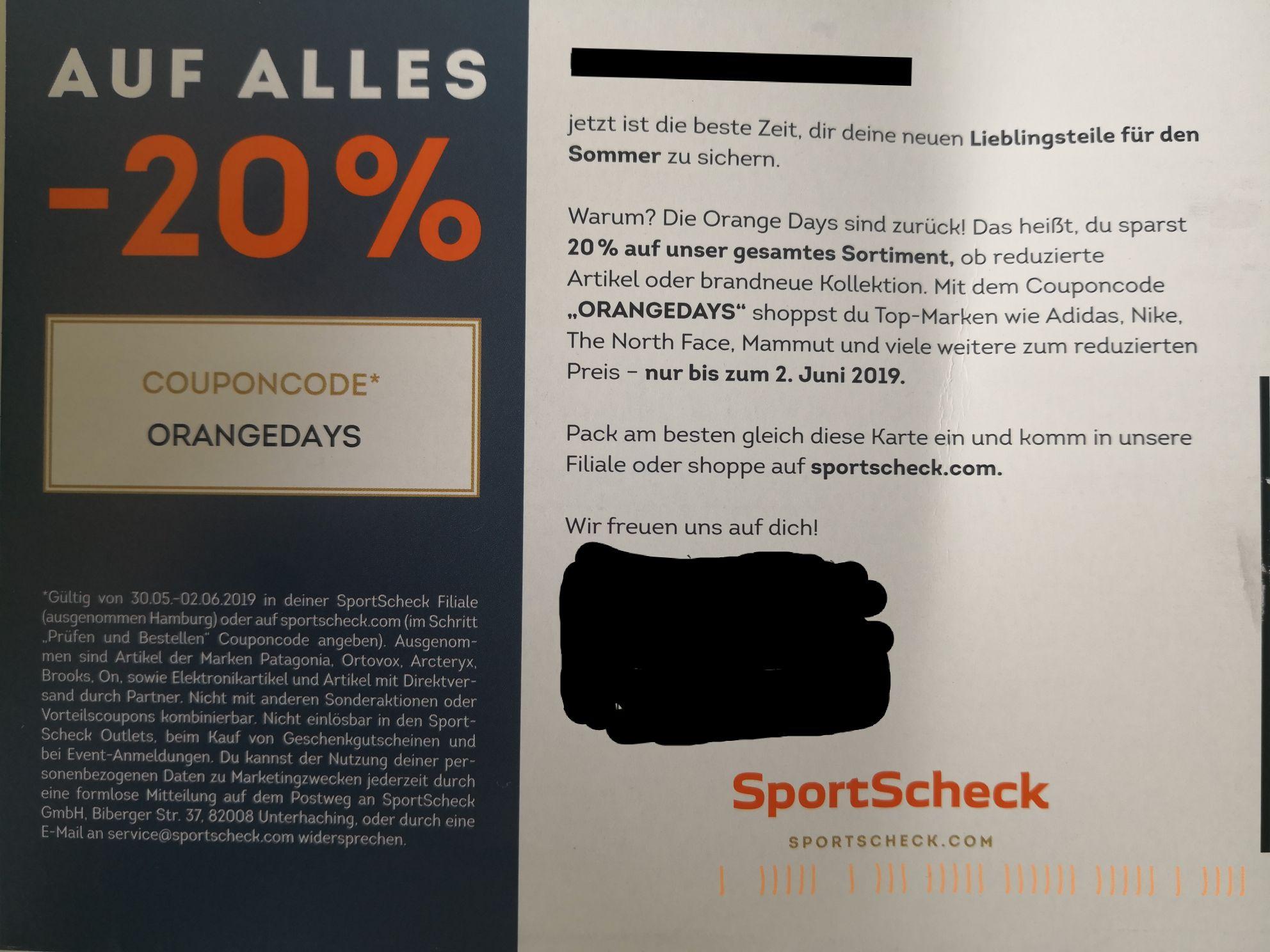 20% auf (fast) alles bei Sportscheck ab 30.05.