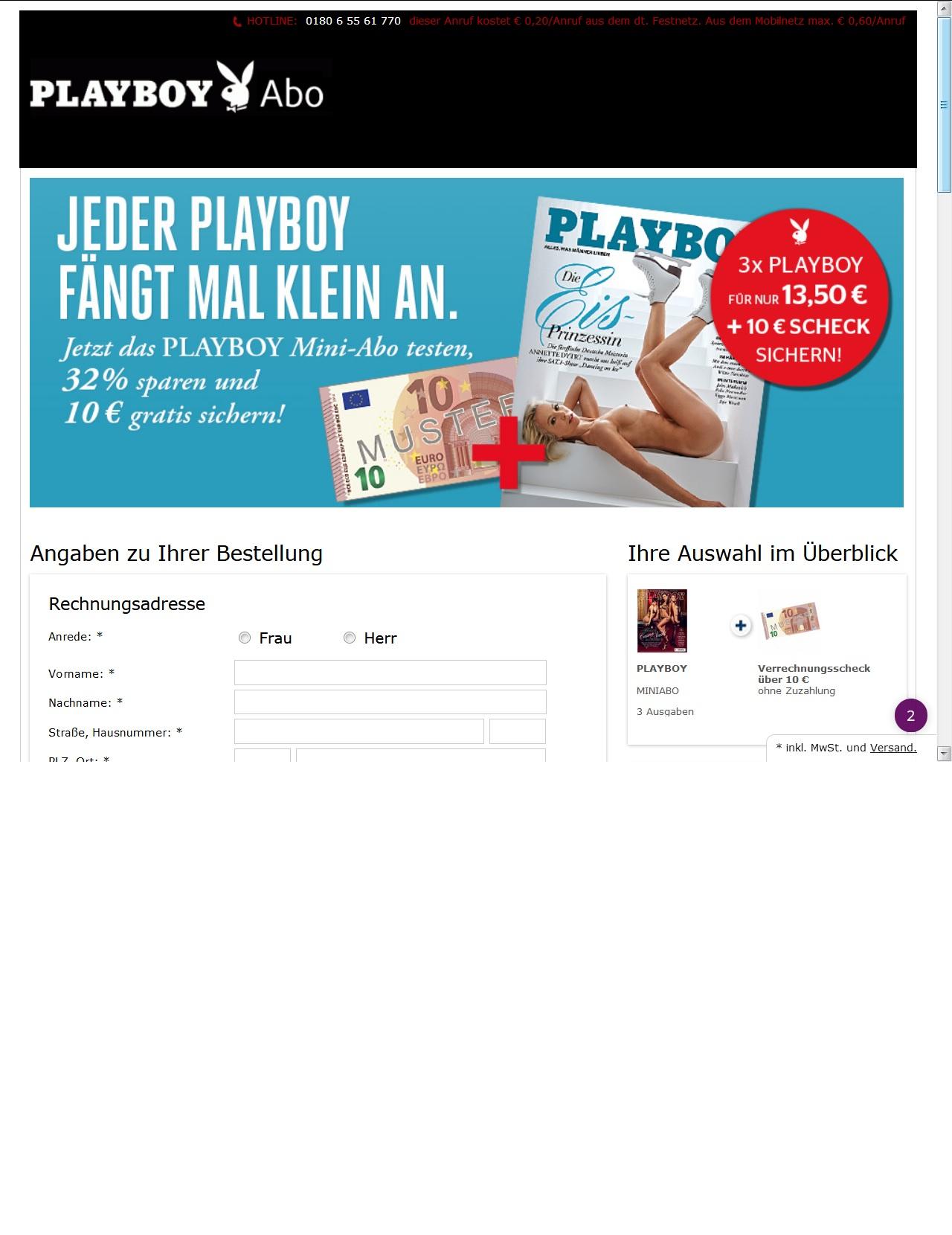 3x Playboy und 10 Euro-Scheck für 13,50 Euro