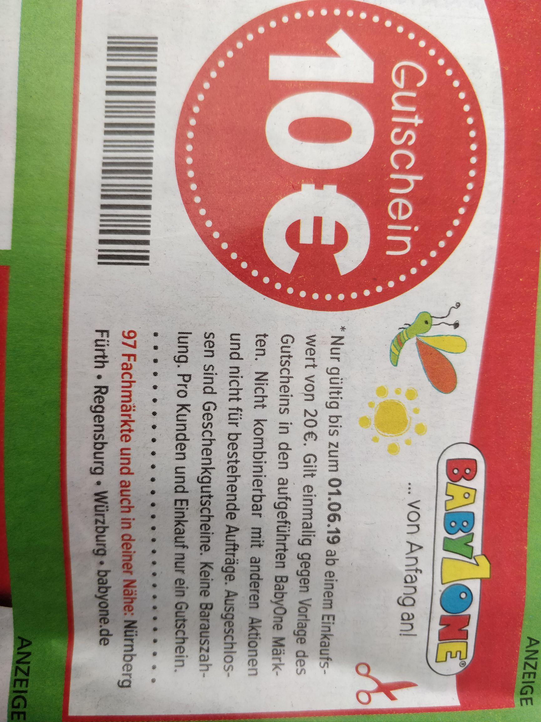 BabyOne 10€-Gutschein in der Einkaufaktuell, für Regionen Nürnberg, Fürth, Regensburg und Würzburg