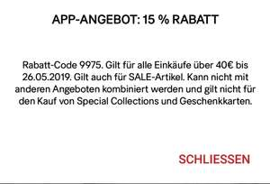 -15% über H&M App auf alles (auch SALE). MBW 40€. Bis Ende des Tages.