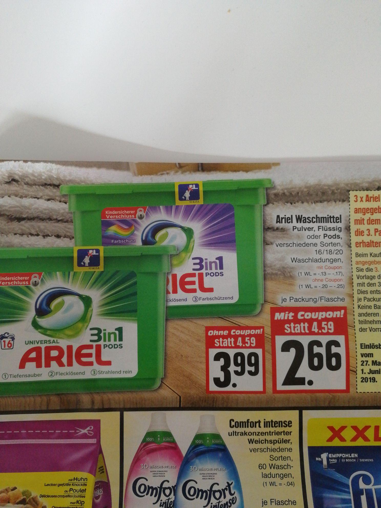 "Edeka [lokal, region.]?  ""3 für 2"": 2,66€ je Ariel 3in1 Pods Universal/Color Packung, 13-17 Cent/WL bei 16/18/20 WL mit Coupon"