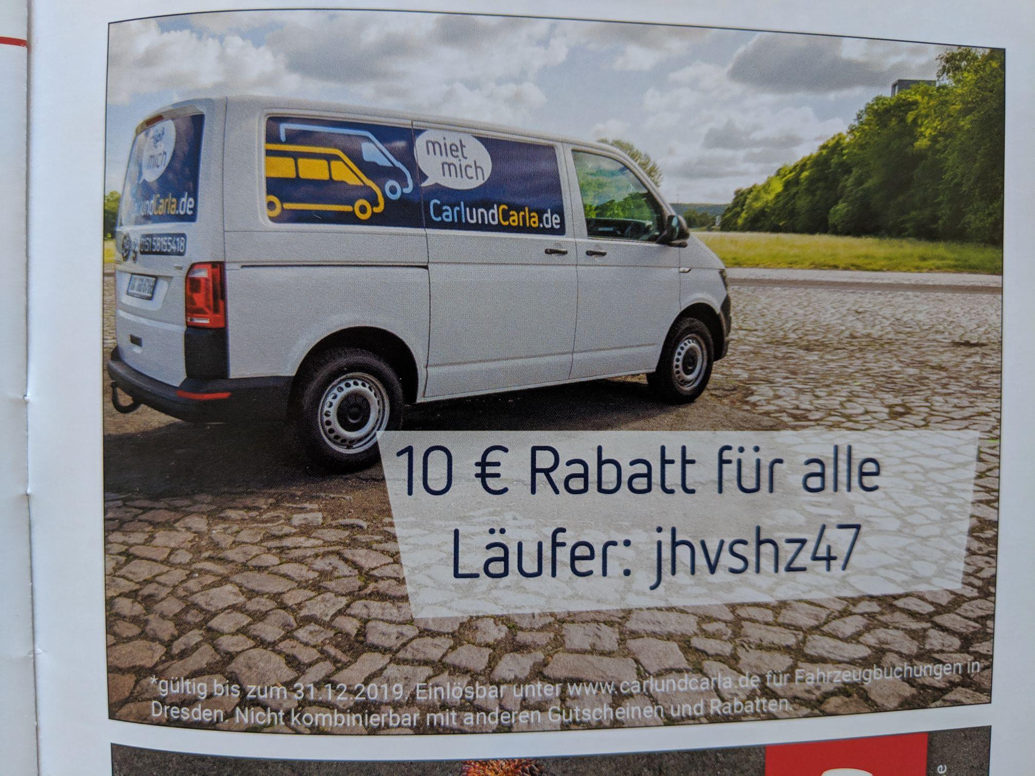 [lokal Dresden] 10€ Rabatt bei Mietwagenbuchung bei CarlundCarla.de