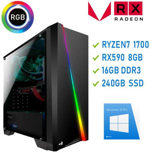 Gamer PC mit Ryzen 7 1700 8x3,7GHz mit Raden RX590 8GB - 16GB RAM - 240 SSD - TOP