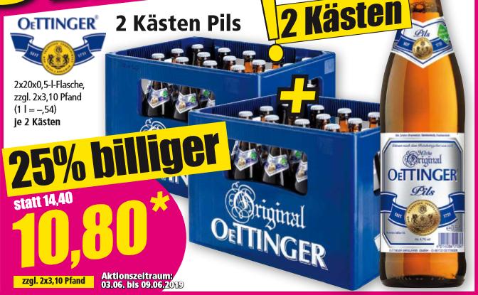 2 Kästen Oettinger Pils für 10,80 Euro (5,40 Euro/Kasten) / Red Bull Energy Drink für 88 Cent/Dose [Norma - regional]