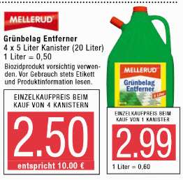 Mellerud Grünbelag Entferner 20 Liter für 10 €!!!