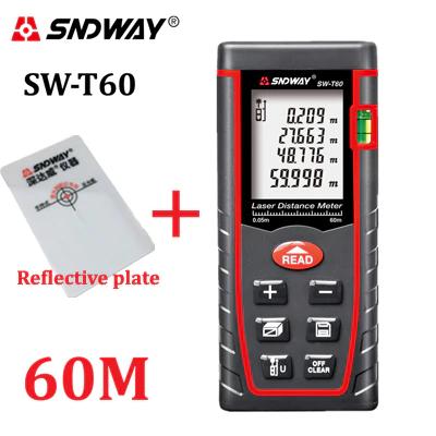 Laserentfernungsmesser von Sndway: z.B. SW-T60 (bis 60m, ~2mm Genauigkeit, diverse Berechnungen möglich, IP54, inkl. Reflektionsplättchen)