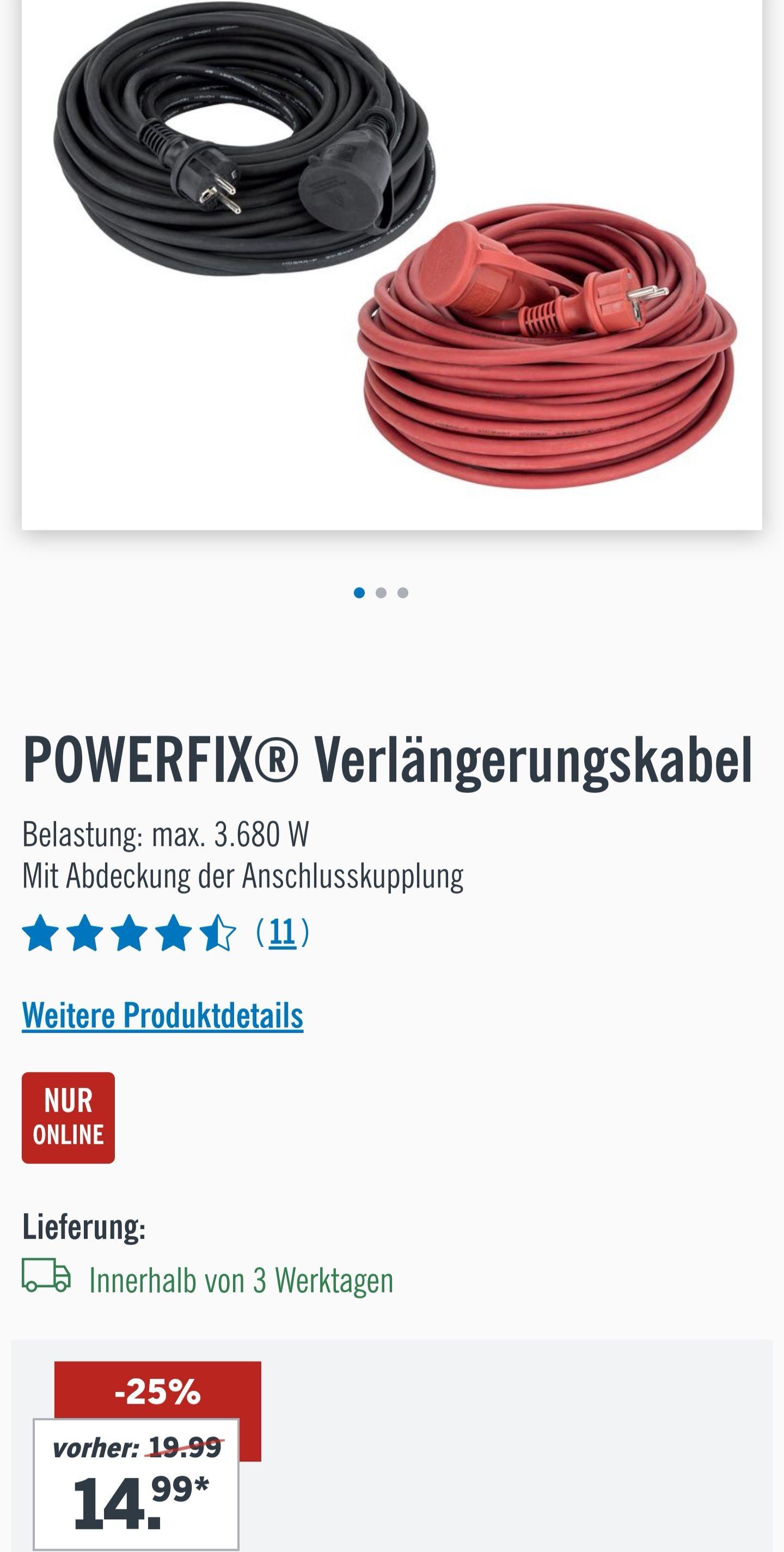 POWERFIX® Verlängerungskabel, ca. 25 m, Spritzwassergeschützt – Schutzklasse IP44