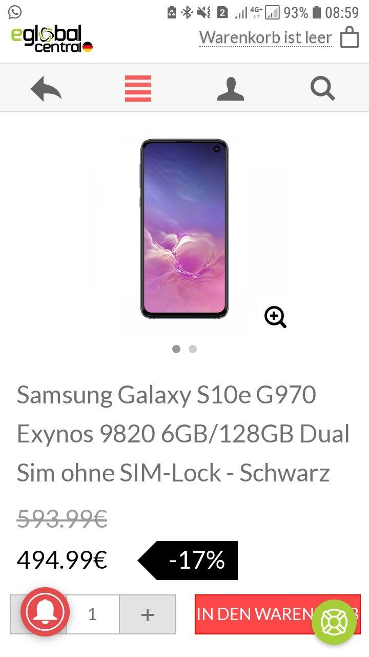 Samsung Galaxy S10e G970 Exynos 9820 6GB/128GB Dual Sim ohne SIM-Lock - Schwarz