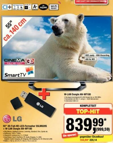 LG 55LM620S inkl WLAN Stick @Metro 999,59€