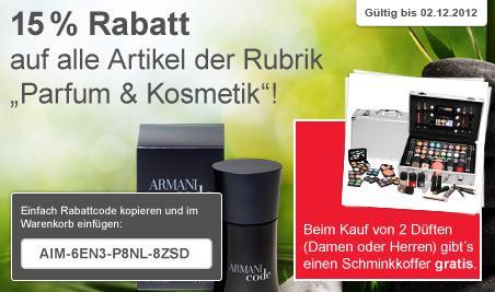 15% auf alle Parfüms und Kosmetikartikel + Gratis Schminkkoffer
