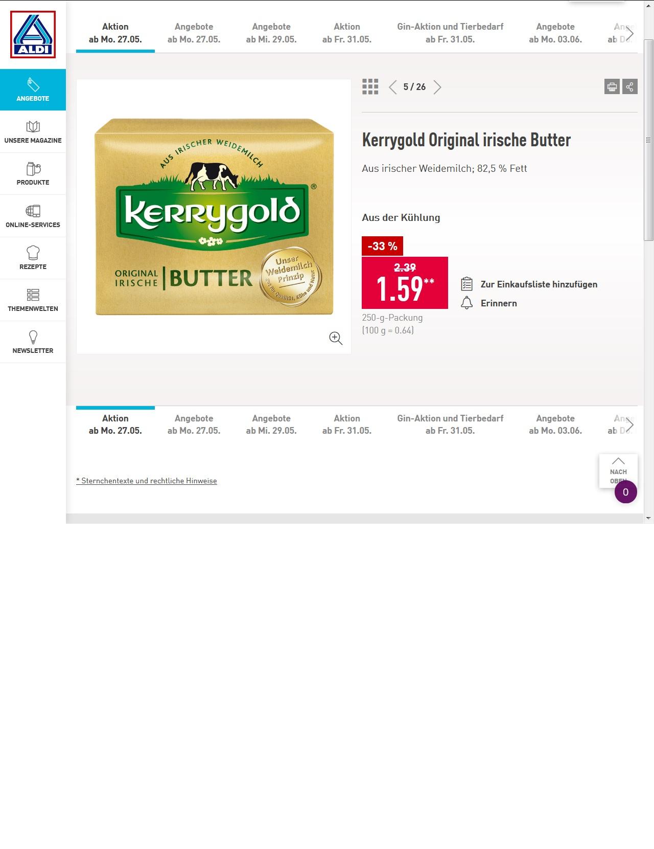 Kerrygold Original irische Butter für 1,59 Euro bei Aldi Nord