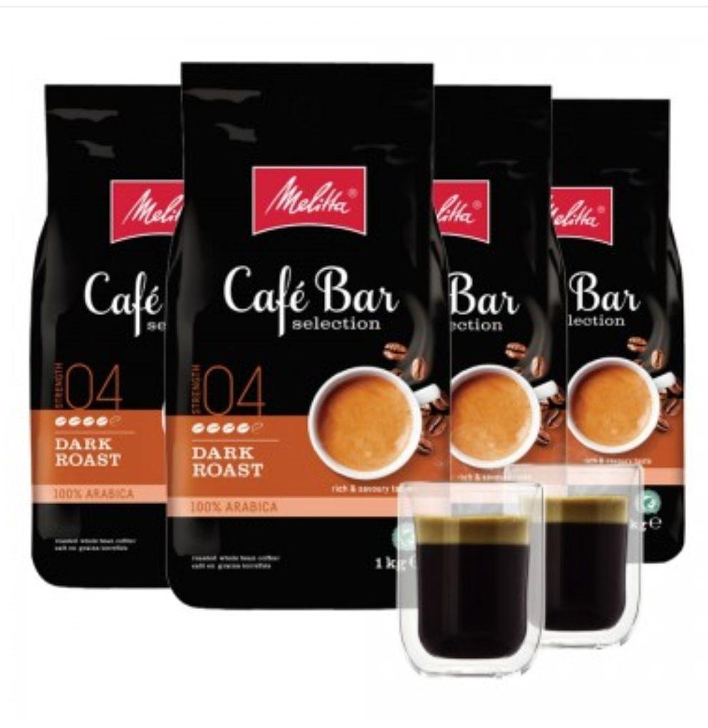 4 Kg Melitta Cafe Bar Kaffeebohnen + 2 doppelwandige Gläser gratis