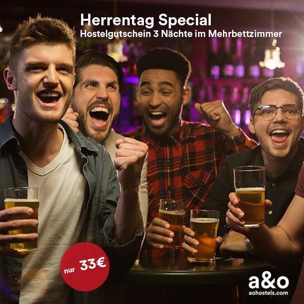 a&o Herren-Tag Deal 2019   3 Nächte im Mehrbettzimmer für 33€ in einem a&o-Hostel nach Wahl