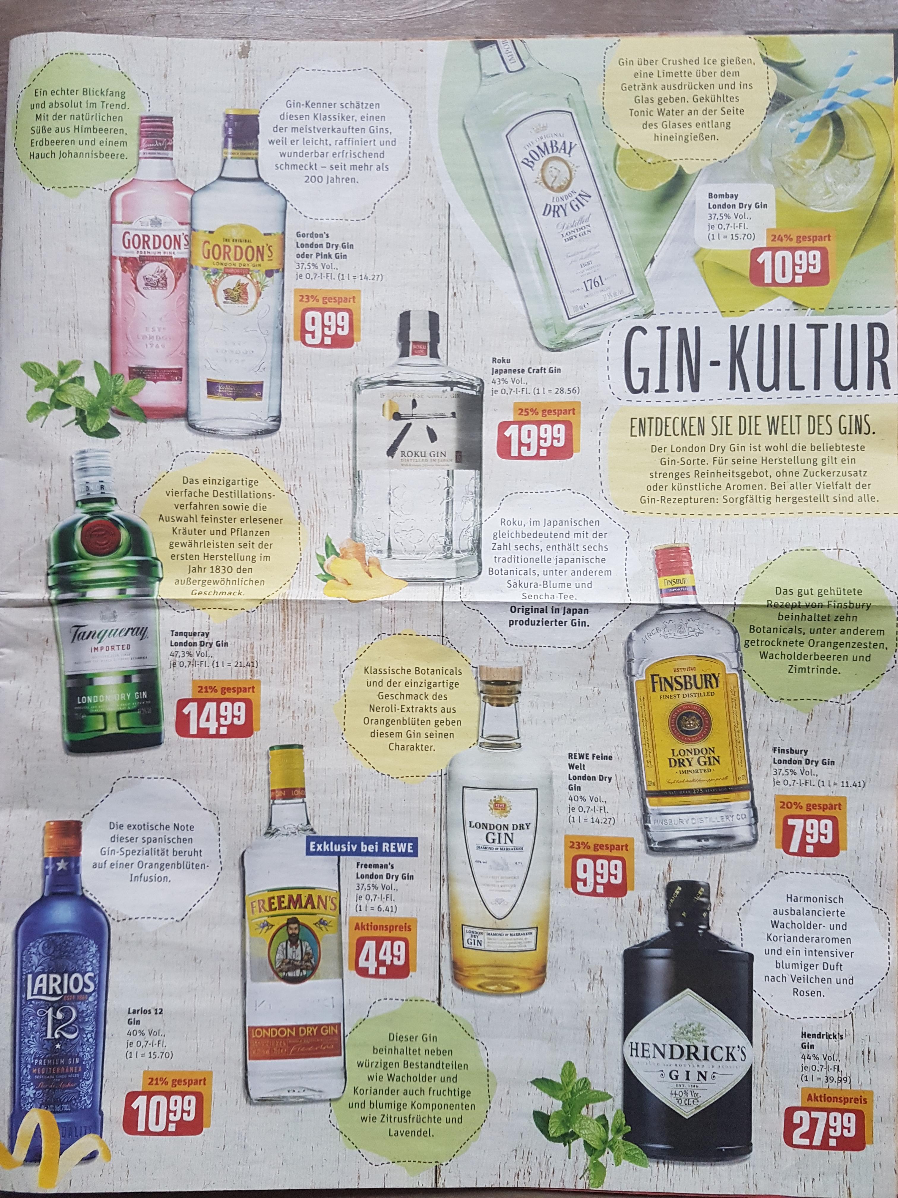 [REWE Center] Gin-Kultur u. a. Roku (1 x 0.7l) für 19,99€, Hendricks (1 x 0,7l) für 27,99€ + viele andere