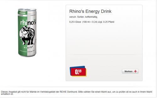 OFFLINE: Rhino's Energy Drink 0,25l Dose für 0,59€ (zzgl. Pfand) Bundesweit @Rewe (-40%)