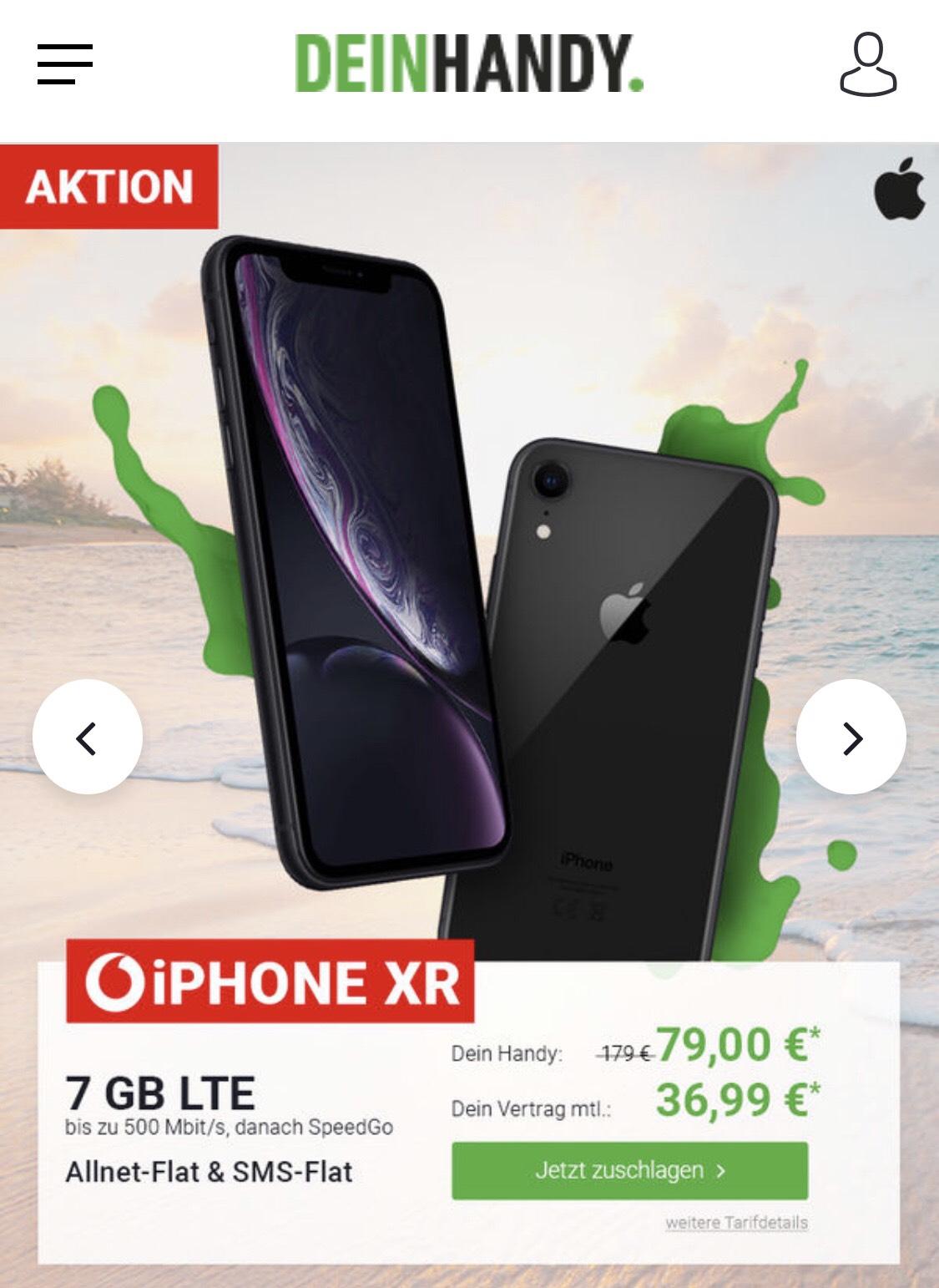 iPhone Xr Vodafone Smart L Plus Tarif mit 7 GB LTE (für Young 12 GB) für monatlich 36,99€