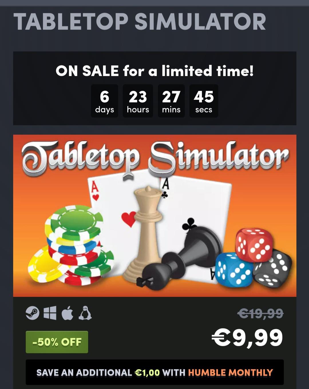 Tabletop Simulator im HumbleStore, Steam Key