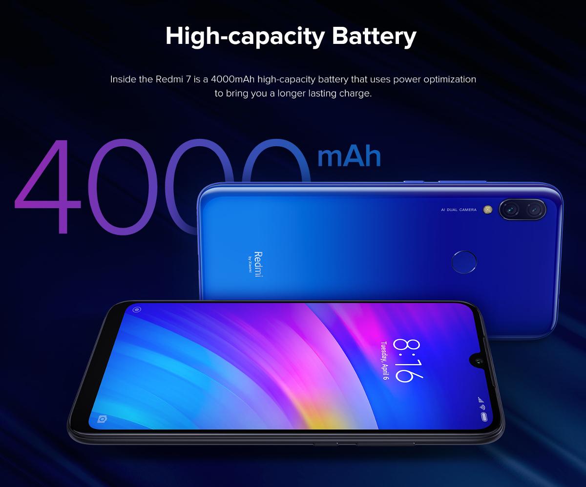 "Xiaomi Redmi 7 Global 2+16GB - 6,25"" HD+ - Snapdragon 632 - 4000mAh Akku - 105K Antutu - Android 9 - 12+8MP - Dualsim+SD"