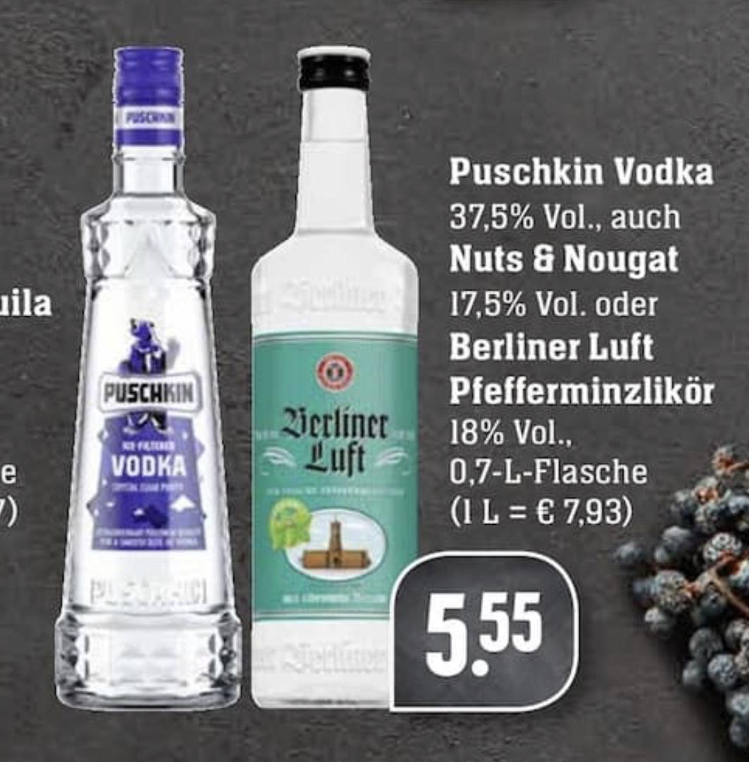 [EDEKA Südwest] Berliner Luft / Puschkin Vodka (je 1 x 0,7l)
