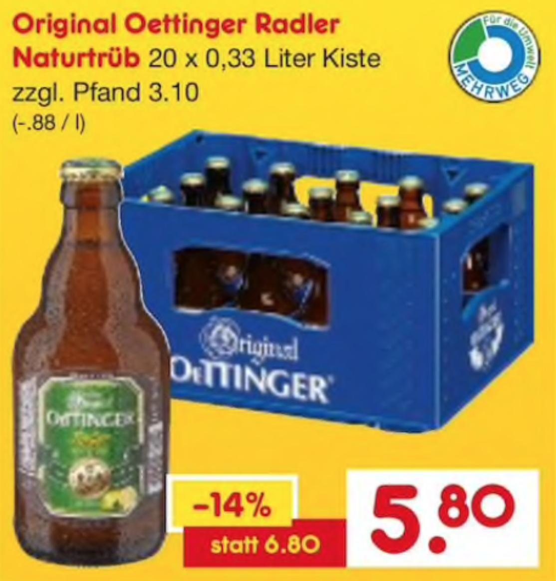 [NETTO Getränkemarkt] Oettinger Radler Naturtrüb (20 x 0,33l) (Lokal - Ludwigshafen)