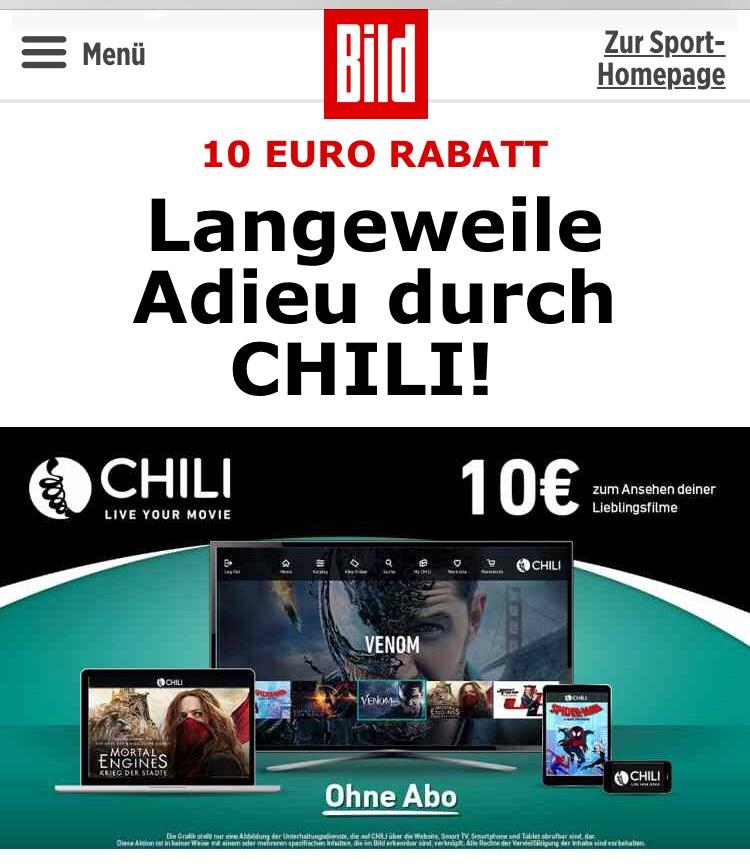 (Chili.com) Code für 10 Euro Rabatt aus der BILD Aktion