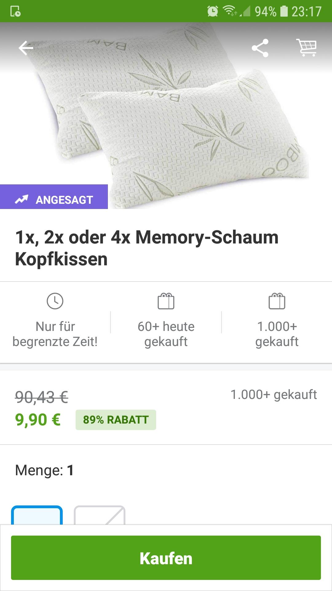 Memory-Schaum Kopfkissen 9,90 € 89 % Rabatt