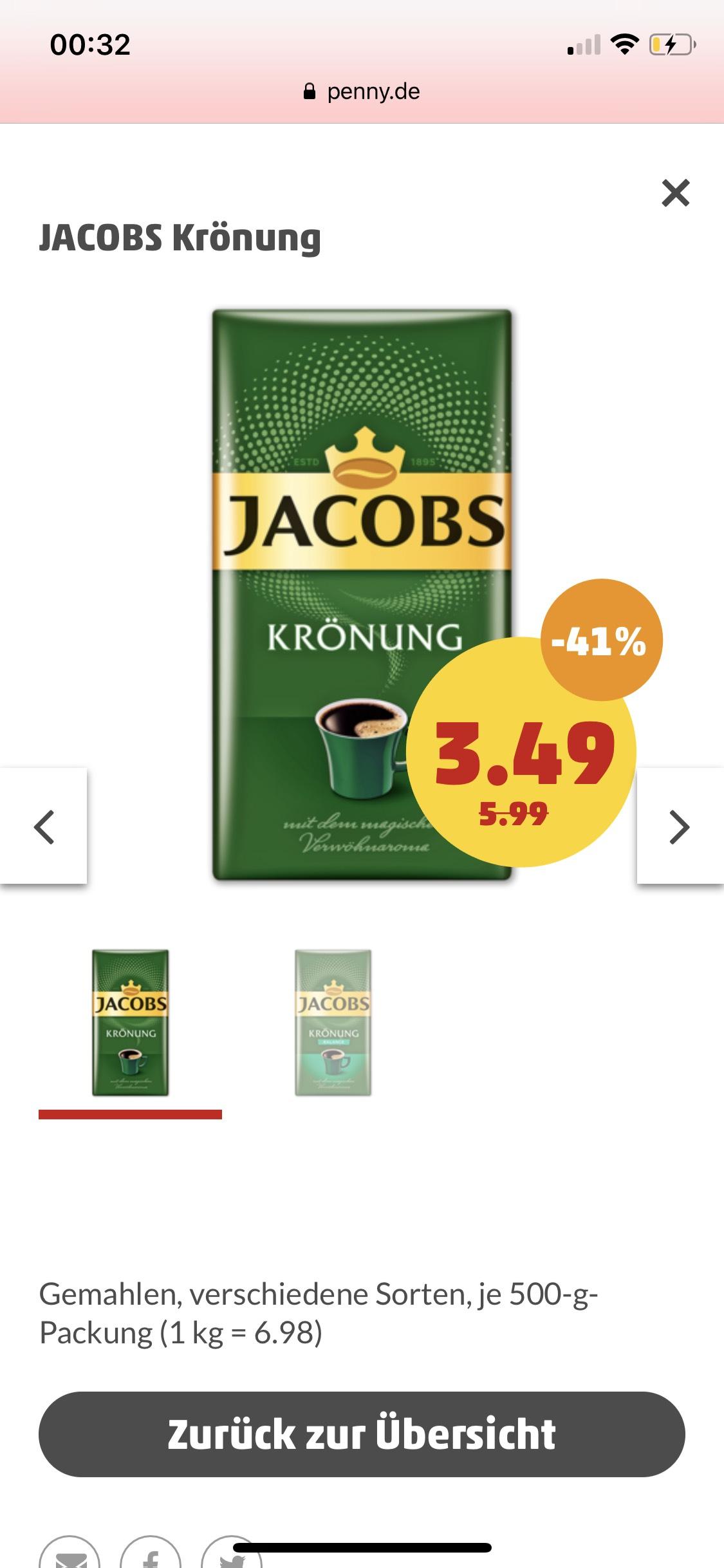 Jacobs Krönung Kaffee 500g Packung // Penny-Markt