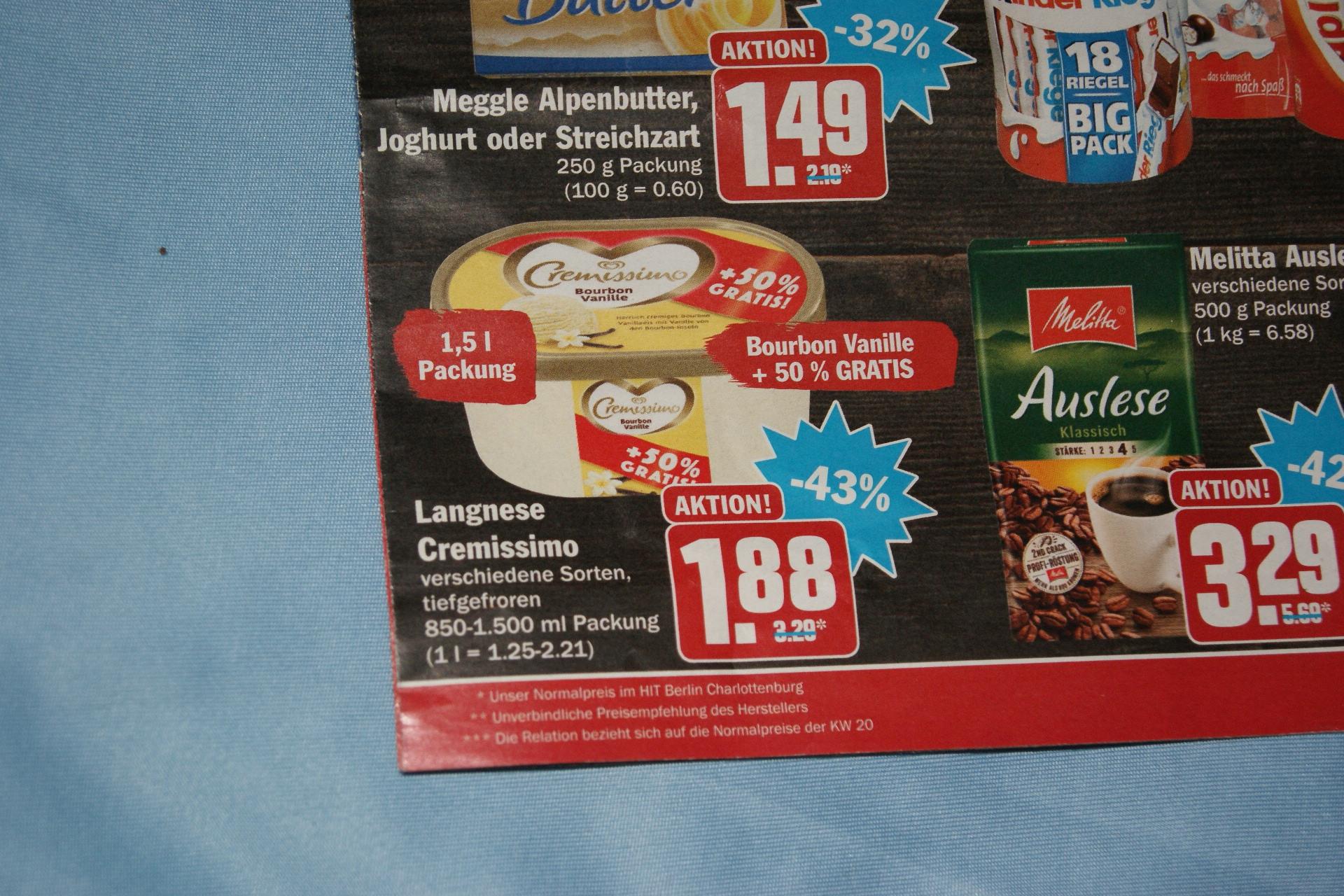 Langnese Cremissimo Bourbon Vanille +50% gratis (= 1.500ml) für 1,88 € (lokal Berlin)