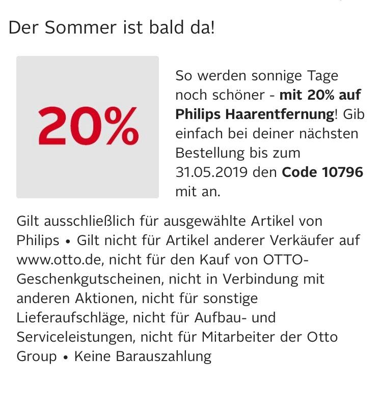 [Otto] 20% Rabatt auf Philips Damen Haarentferner