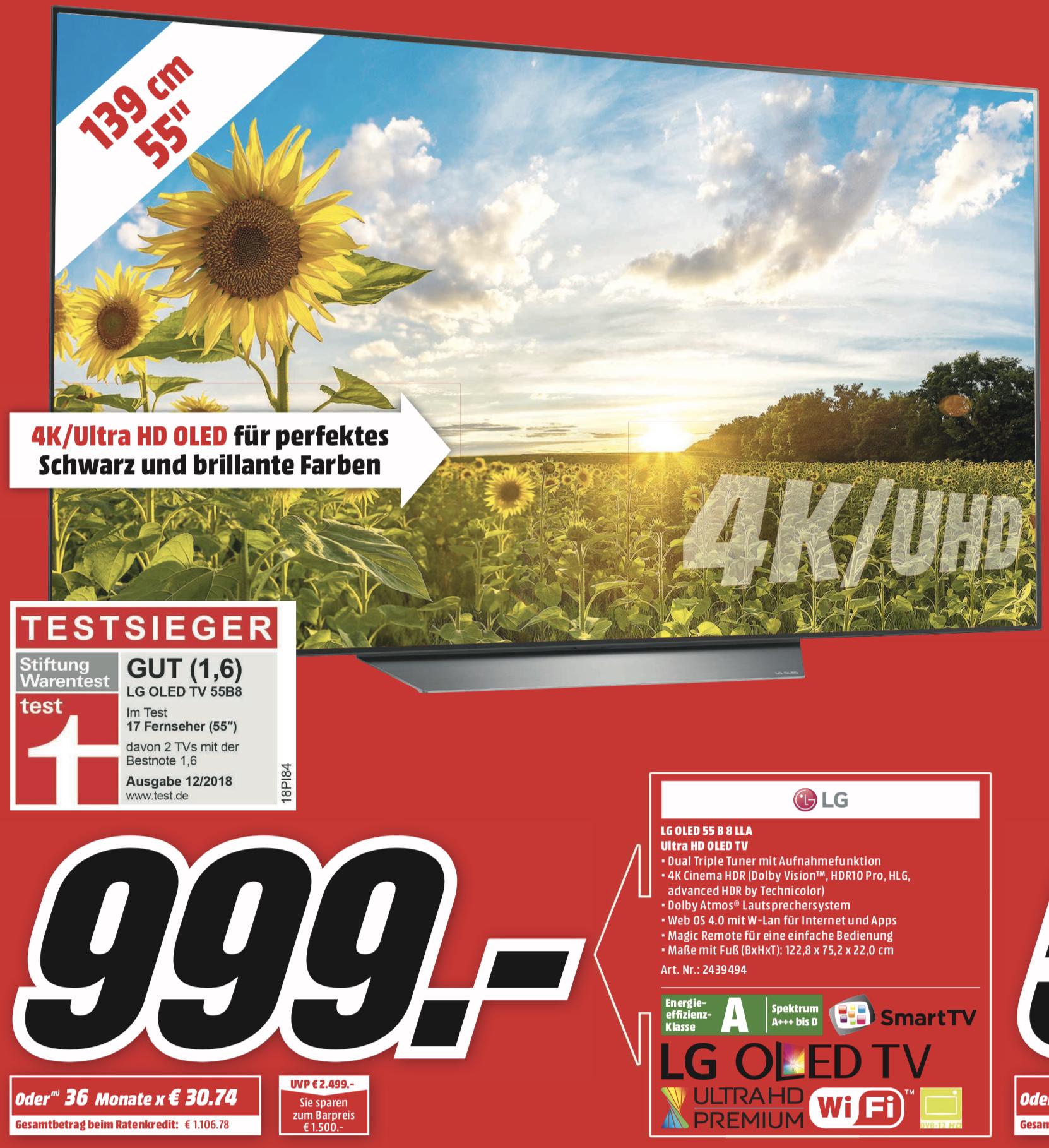 LG OLED55B8LLA OLED TV 55 Zoll 139cm 4K UHD SMART TV webOS 4.0 AI ThinQ für 999€ - Lokal MediaMarkt Hamburg, Halstenbek u. Henstedt-Ulzburg