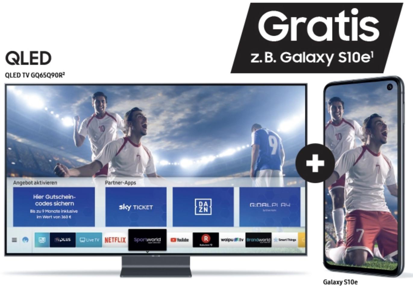 Bei Kauf eines Samsung QLED TVs ein Galaxy Smartphone A50, A70, S10e oder S10+ und bis zu 9 Monate Live-Sport (im Wert bis zu 360€) sichern