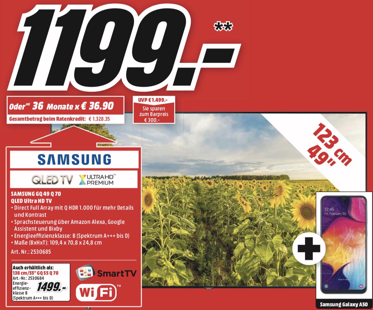 Samsung QLED 49Q70R + Zugabe Samsung Galaxy A50 Smartphone für 1199€ und weitere Zugabe Angebote - Lokal MediaMarkt Hamburg