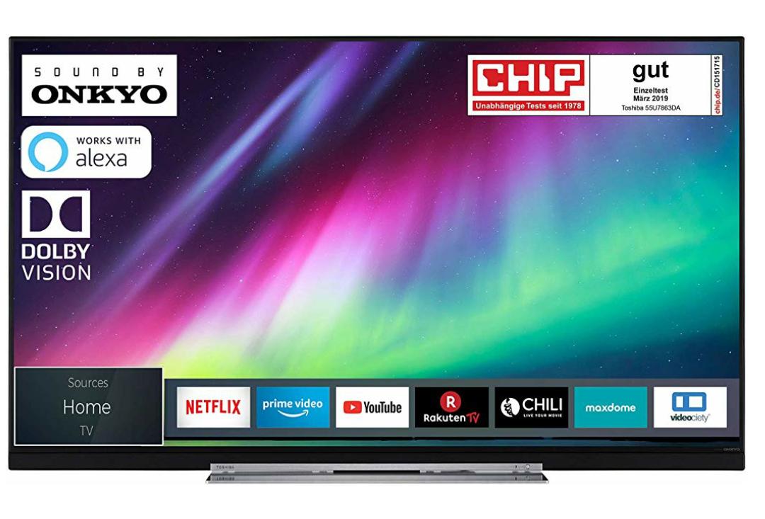 Toshiba 55U7863DA 140 cm (55 Zoll) Fernseher (4K Ultra HD, HDR Dolby Vision, Triple Tuner, Smart TV, Onkyo Sound, Alexa Ready)